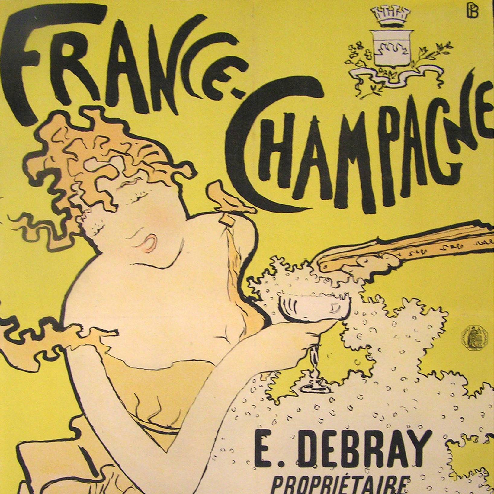 "Woman with closed eyes holding fan and glass of champagne in front of yellow background and below text that reads ""France Champagne"""